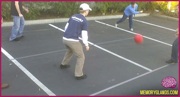 funny four square recess outside game photo