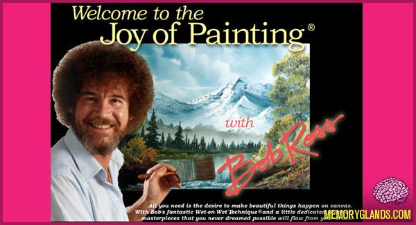 funny bob ross joy of painting tv show photo